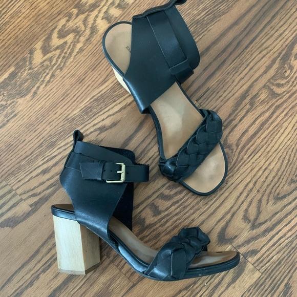 Zara braided strap block heel sandals 39